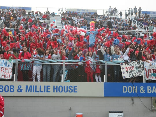 With the help of inflatable tube man, the North Salinas student section showed up in force.