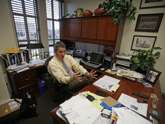 Brian Hardin, new athletic director at Drake University, is shown in 2012 when he was director of football media relations at Notre Dame.