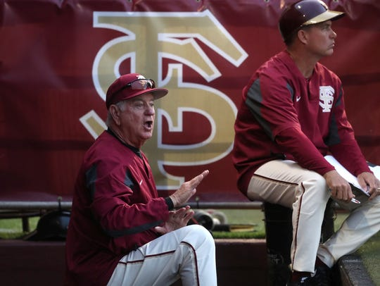 FSU Head Coach Mike Martin yells out to his team during