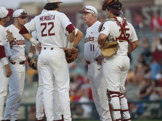 FSU's Mike Martin approaches the mound April 27 at Dick Howser Stadium.