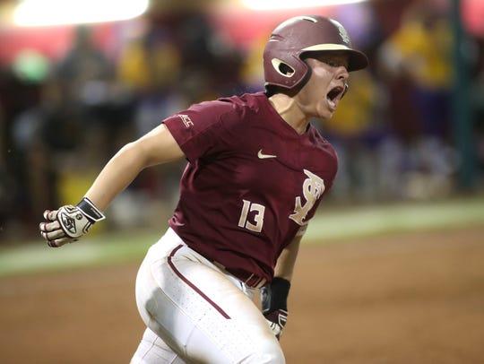 FSU's Anna Shelnutt celebrates her home run against