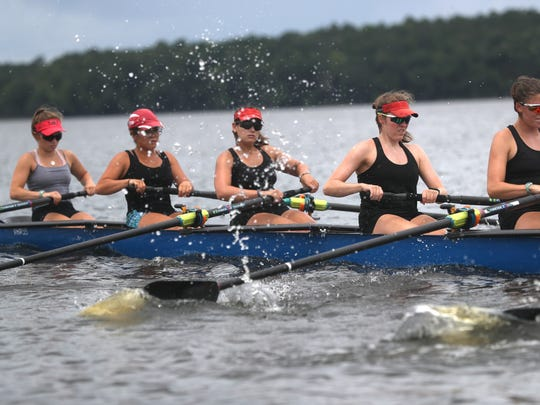 The Capital City Rowing team trains on Lake Talquin on Wednesday, May 30, 2018 for their trip to the U.S. Rowing Youth Nationals in California, where they will compete with the top youth rowers from around the county.