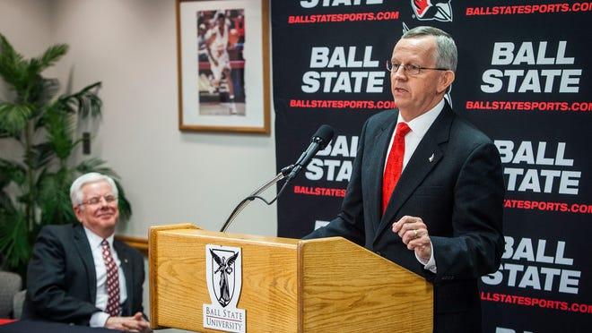 Ball State's new athletic director, Mark Sandy, talks to the media Thursday as university president Paul Ferguson looks on.