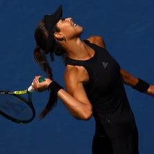NEW YORK, NY - AUGUST 28:  Ana Ivanovic of Serbia serves to Karolina Pliskova of the Czech Republic during their women's singles second round match on Day Four of the 2014 US Open at the USTA Billie Jean King National Tennis Center on August 28, 2014 in the Flushing neighborhood of the Queens borough of New York City.  (Photo by Al Bello/Getty Images)