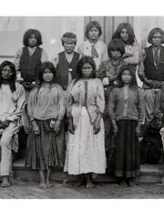 Apache children from Ft. Marion, Fla. on arrival to