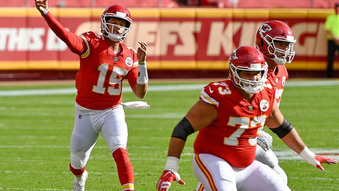 Kansas City Chiefs quarterback Patrick Mahomes throws in the first quarter against the Carolina Panthers on Sunday, Nov. 8, 2020, at Arrowhead Stadium in Kansas City, MO.