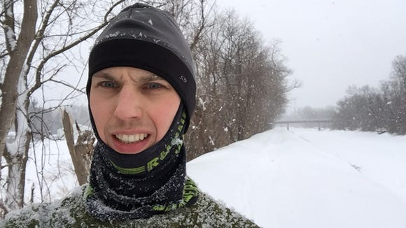 Midway through a cold and snowy 8.5-mile run along the Erie Canal.