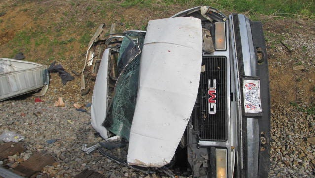 A man died Wednesday when his pickup truck was hit by a train in Huntingdon.