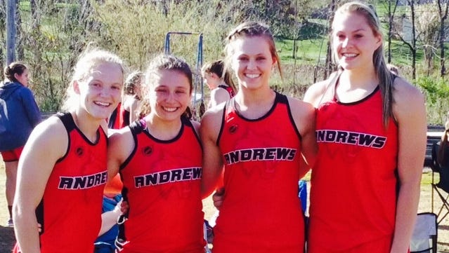 Paige Lindley, Abby Hedden, Morgan Mashburn and Tiffany Holloway set an Andrews' school record in the girls 400-meter relay Tuesday.