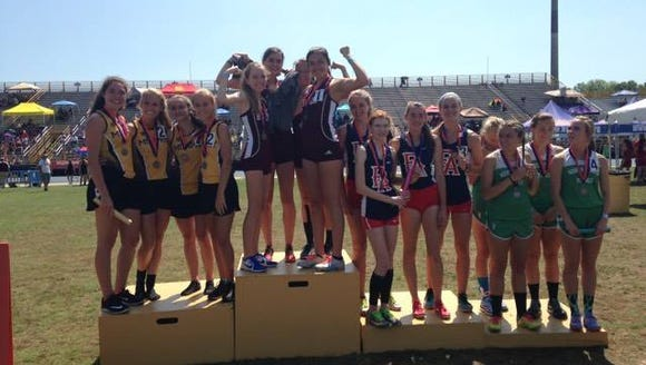 The Swain County girls 3,200-meter relay team won at