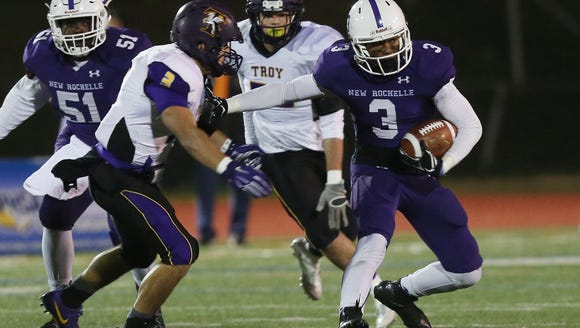New Rochelle lost to Troy, the defending state champ, 20-14 in the 2016 Class AA state semifinals. The teams meet again on Nov. 10, 2017 at Columbia High School in East Greenbush in the state quarterfinals.