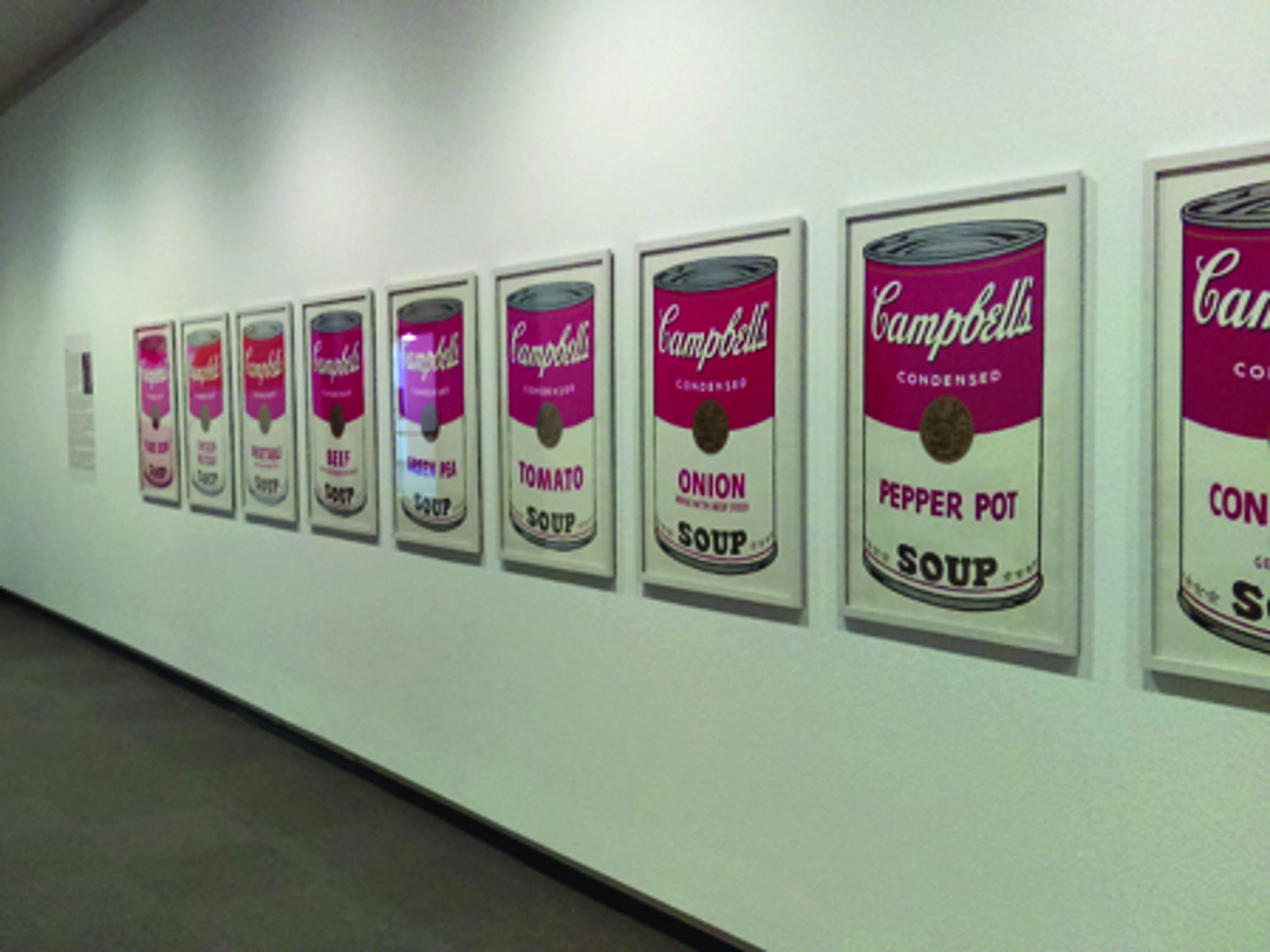"Springfield Art Museum's ""Campbell's Soup I"" screenprints by Andy Warhol were displayed in a Pop art show before seven of 10 prints were stolen April 7."