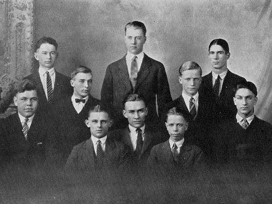 "Pictured in the 1925 Techoes annual was the Peppy Techs, organized in 1920, which promoted ""the welfare of the school by the influence which its active members exert upon the student body,"" according to the annual. The club was made up of 10 senior boys chosen by the group from the previous year because of their possibilities of becoming school leaders."