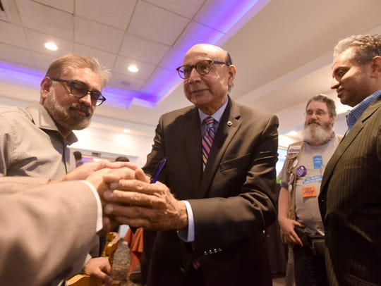 Gold Star father Khirz Khan campaigning for Phil Murphy in Edison.