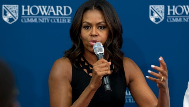 First lady Michelle Obama at Howard Community College as part of her 'Reach Higher' initiative, Thursday, Sept. 17, 2015, in Columbia, Md.