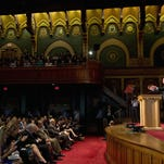 Democratic presidential candidate Sen. Bernie Sanders, I-Vt., speaks at Georgetown University in Washington on Thursday, Nov. 19, 2015, about the meaning of democratic socialism and other topics.