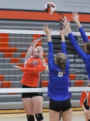 Grinnell's Nicole Popp, 14, attacks the Clear Creek Amana defense during the Grinnell Tournament on Saturday.