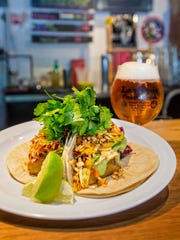 Fish tacos paired with a beer from Lawson's Finest