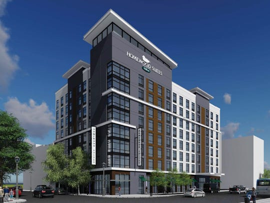 Rendering of new Homewood Suites at Seventh and Market