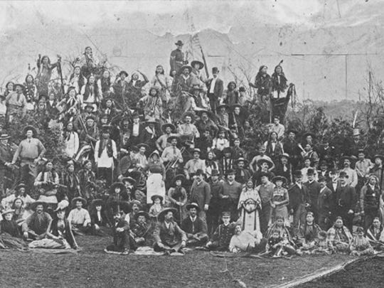 The entire cast of Buffalo Bill's Wild West is featured in this 1887 photo, which probably was taken while the company was on tour in London.