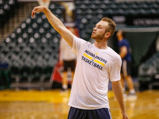 UCLA's Bryce Alford shoots during a workout for the Indiana Pacers at Bankers Life Fieldhouse on Monday, May 22, 2017.