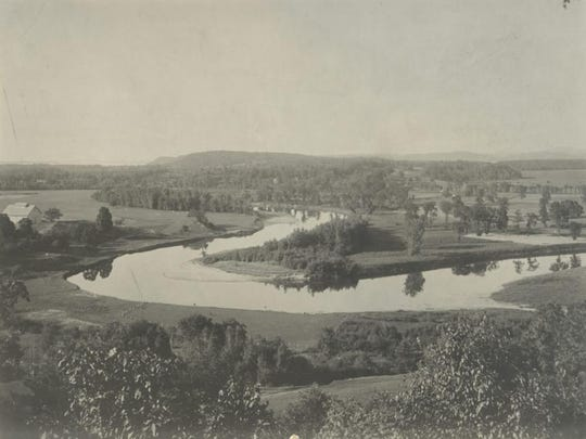 A view of the Winooski River at the Ethan Allen Homestead taken mid-20th century.