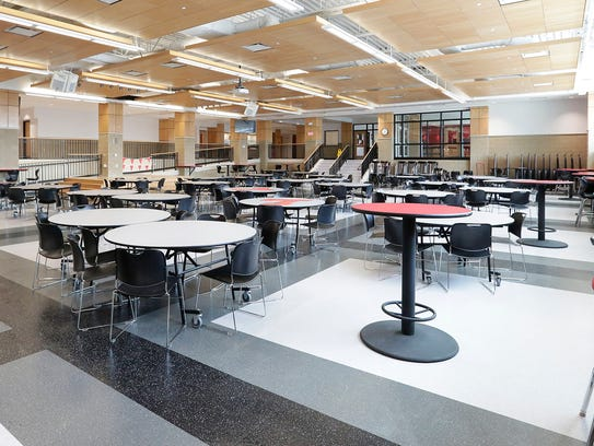 The new middle/high school cafeteria within the Lomira