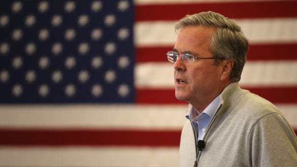 Jeb Bush addresses an audience of supporters on Jan.