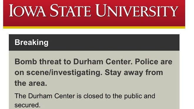 Iowa State University notified students and staff about a bomb threat early Monday morning.
