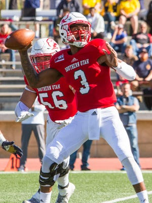 Southern Utah quarterback Patrick Tyler (3) attempts a pass during the second quarter of Saturday's game against Montana State in Cedar City, Utah, Nov. 5, 2016.