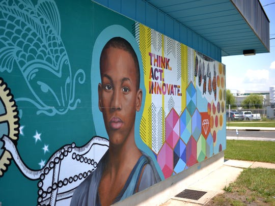A new mural is installed on the Boys and Girls Club of Vineland building Tuesday, Jun. 7 in Vineland.