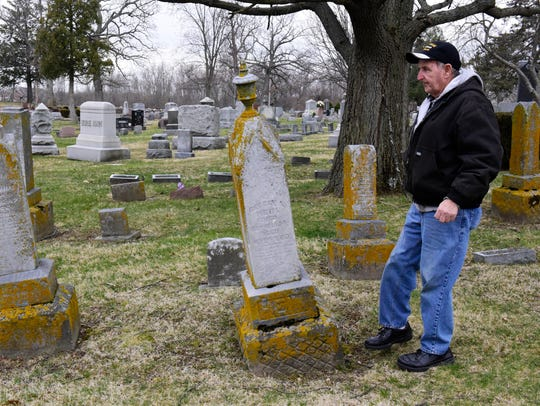 "Jack Ferguson said in April that the way memorials have fallen into disrepair at Fremont's historic Oakwood Cemetery is ""not fair to the lot owners."""