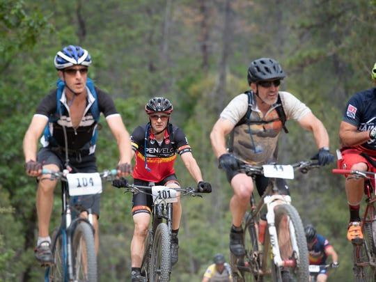 Riders compete in the 2018 Lemurian mountain bike race.