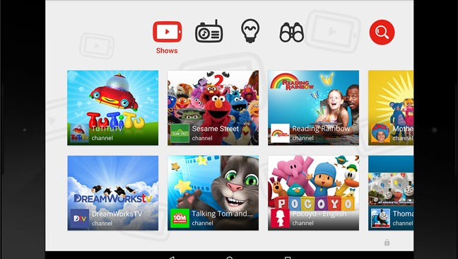 YouTube Kids features simple icons and kid-focused video content.