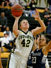 Cascade guard Halle Wright (42) puts up a shot over