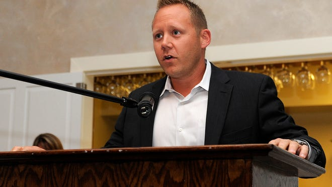 RCD Sales partner Ryan Haire accepts the Business of the Year Award during the Licking County Chamber awards celebration at Moundbuilders Country Club.