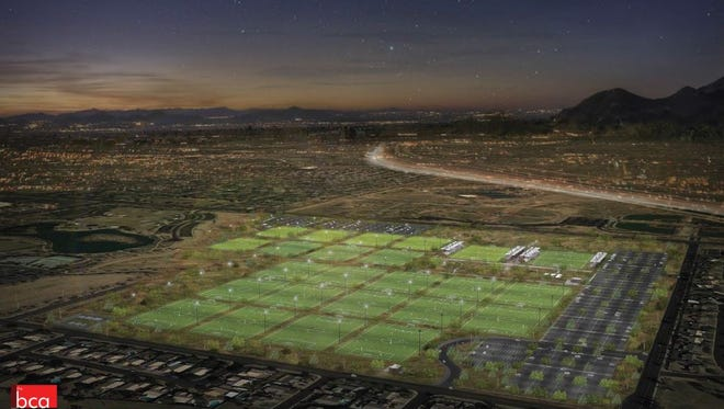 An artist's rendering of the 24-field sports complex proposed for northeast Mesa.