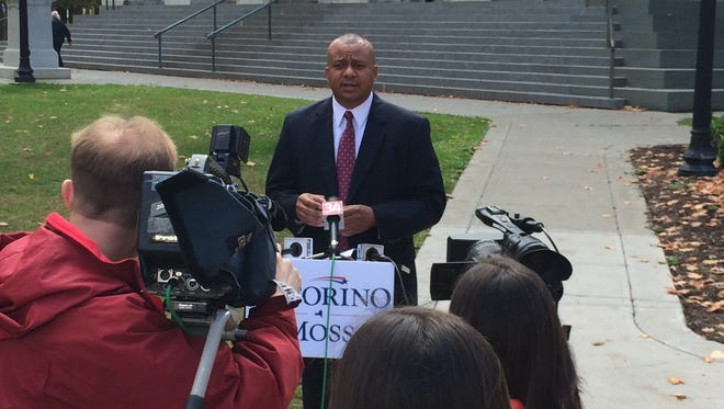 Chemung County Sheriff Chris Moss on Friday announces the Astorino-Moss public safety plan at the Broome County Courthouse in Binghamton.