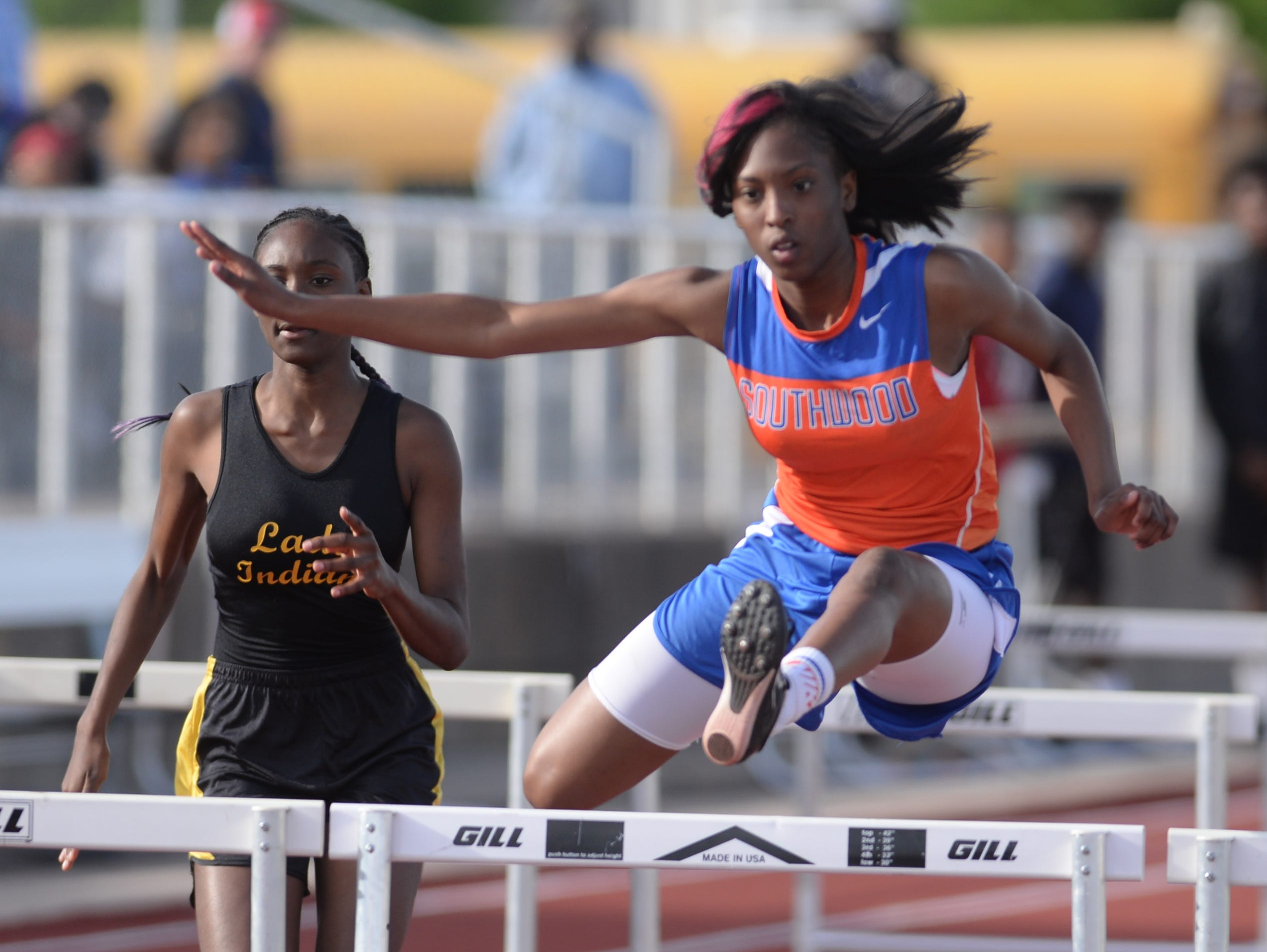 Southwood's Vanesssa Aviles clears her hurdle in the 100M hurdels event at the Shreveport relays.
