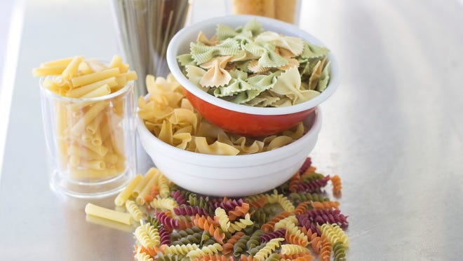An assortment of pastas, from top clockwise, Pastene mafaldine 5, Rao's tre-carfalle farfalle, NoYolks dumplings, WackyMac veggie spirals, DeCecco zita cut, DeCecco linquine with spinache in Concord, N.H. on Sept. 15, 2014.