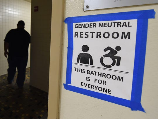 A sign posted outside Santee High School's gender neutral