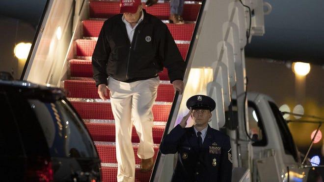 President Donald Trump at Palm Beach International Airport Friday.