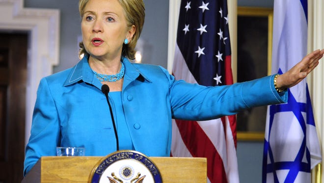 Then-Secretary of State Hillary Clinton makes remarks on June 17, 2009, at the State Department in Washington, D.C.