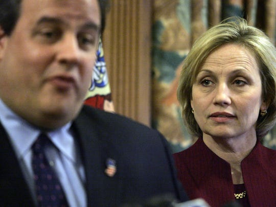 Governor-elect Chris Christie and Lt. Governor-elect Kim Guadagno are shown during a Statehouse news conference in Trenton Monday.   1/11/10 - TRENTON - CHRISTIE0111C - PAGE1 - ASBURY PARK PRESS PHOTO BY THOMAS P. COSTELLO