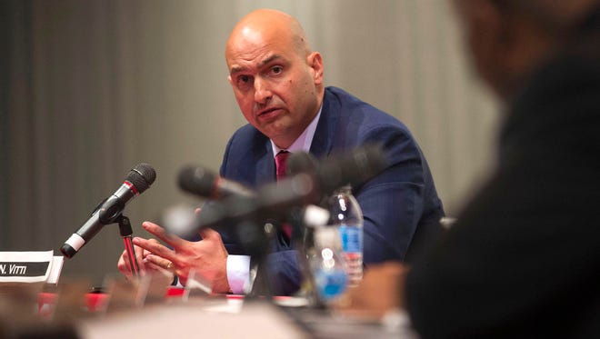 DPS Community District superintendent candidate Nikolai Vitti responds to a question while he is interviewed by the DPSCD Board of Education in March 2017 at Detroit Collegiate Preparatory High School in Detroit.