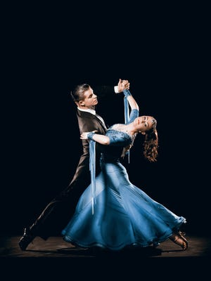Dance Couple Competing in Tango Championships