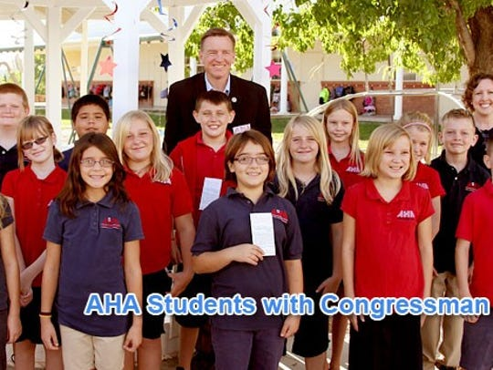 Students from AHA pose with Congressman Paul Gosar