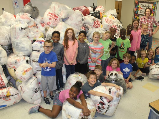 Olmsted Elementary second graders helped in the collection for the Plastic Bag Swap, a contest by Metro Waste Authority.