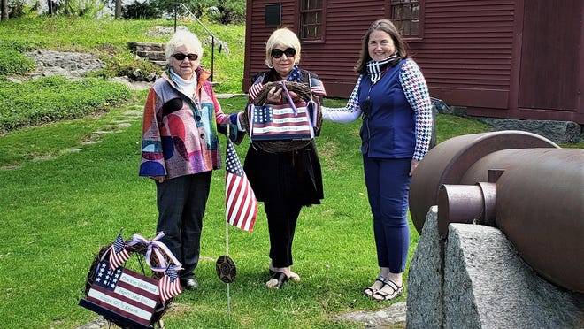 A wreath was laid Saturday, May 23, 2020, at the World War I grave site at the foot of the Old Gaol in York, Maine, to honor the veterans, but specifically the three who served and were all educated at the Portland Hospital School of Nursing prior to the breakout of the war. Pictured are Linda Feeney, Carla Rigby and Janet Clarke from the Old York Chapter.