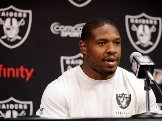 FILE - In this April 22, 2014, file photo, Oakland Raiders running back Maurice Jones-Drew answers questions during an NFL football news conference in Alameda, Calif. Jones-Drew is being sued in Florida, accused of punching a bouncer at a St. Augustine restaurant.  (AP Photo/Marcio Jose Sanchez, File)